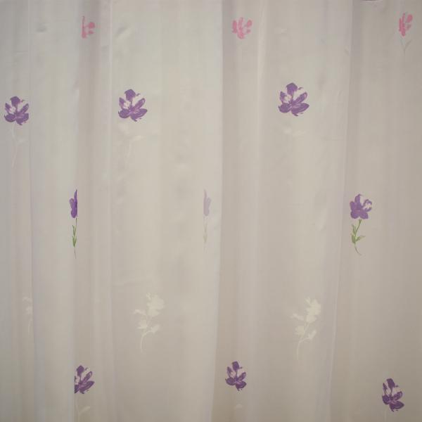 Perdea Velaria voal alb cu flori mov si roz, 310x170 cm 1