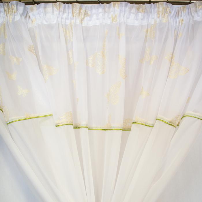 Perdea Velaria voal alb cu fluturi aurii 2