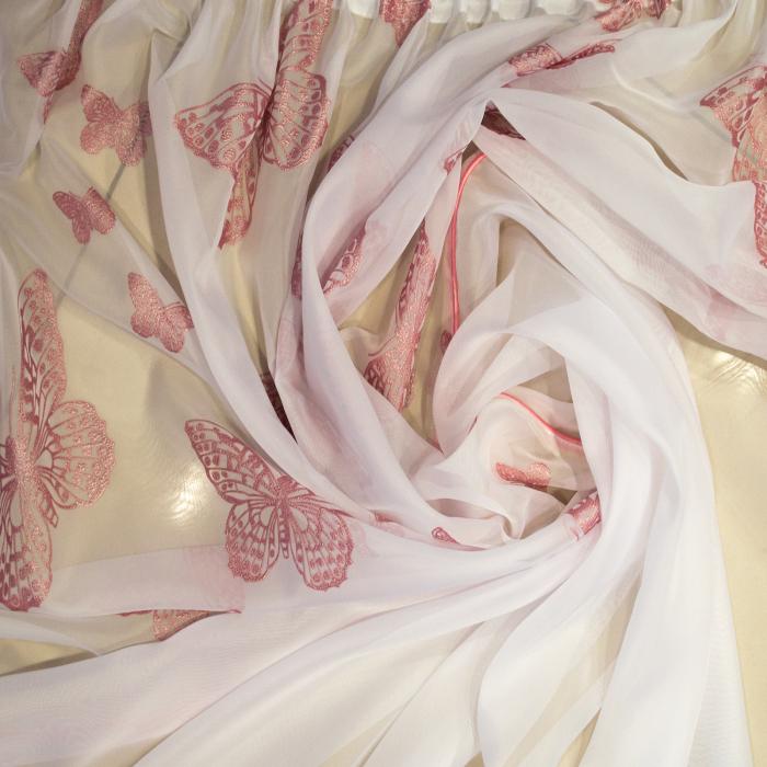 Perdea Velaria voal alb cu fluturi roz, 390x190 cm 2