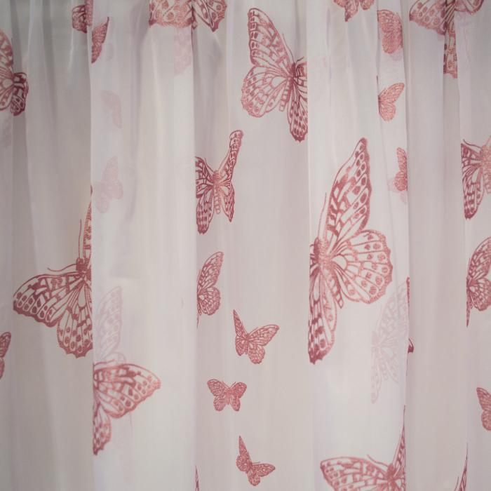 Perdea Velaria voal alb cu fluturi roz, 390x190 cm 1