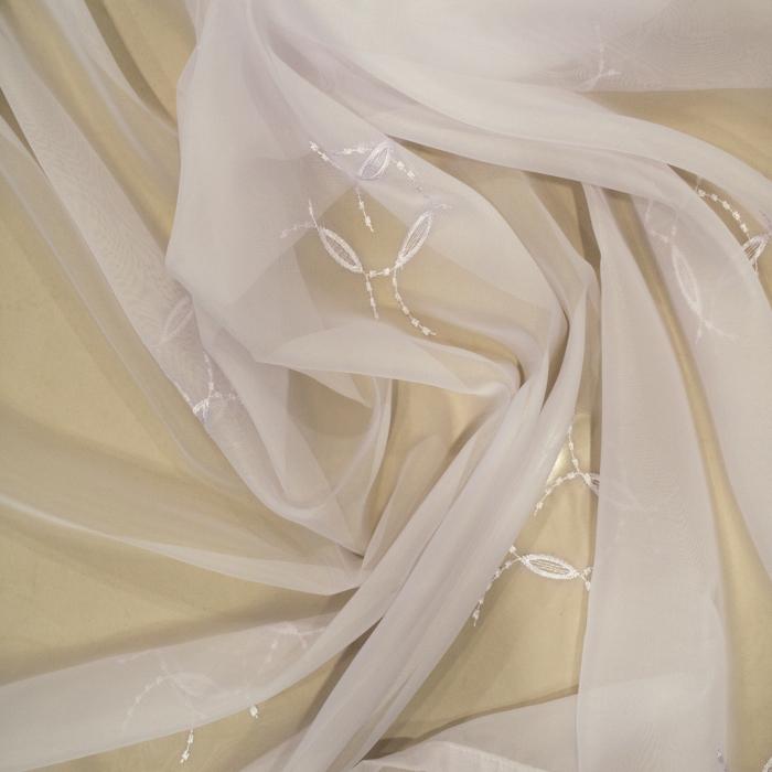 Perdea Velaria voal alb cu imprimeu brodat, 115x245 cm 2