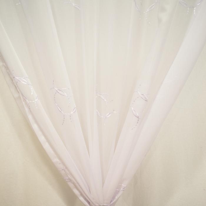 Perdea Velaria voal alb cu imprimeu brodat, 115x245 cm 1