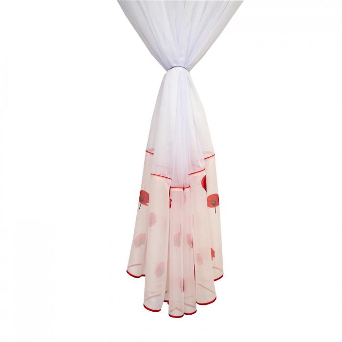 Perdea Velaria voal alb cu maci rosii, 520 X 190 cm [1]