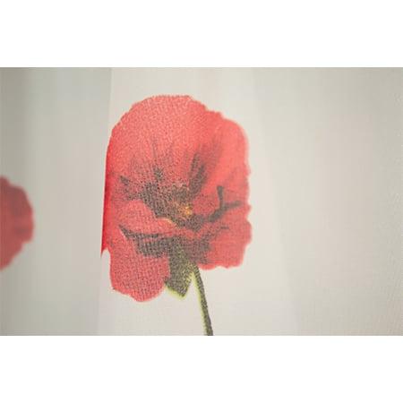 Perdea Velaria voal alb cu maci rosii, 400x185 cm 1