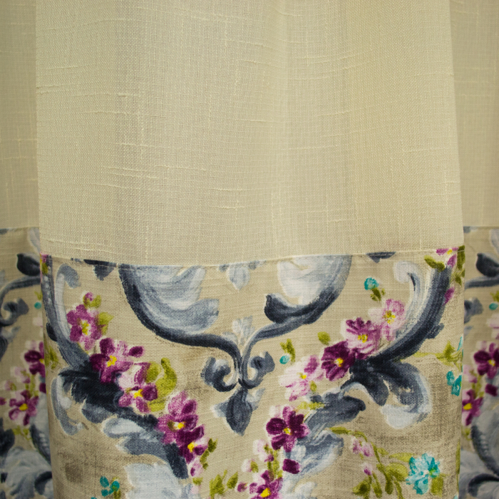 Perdea Velaria in bej cu imprimeu floral, 325x135 cm 1