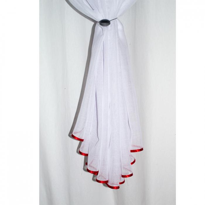 Perdea Velaria in alb cu maci rosii 2
