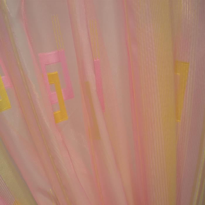 Perdea Velaria voal roz cu auriu, 300x250 cm 5