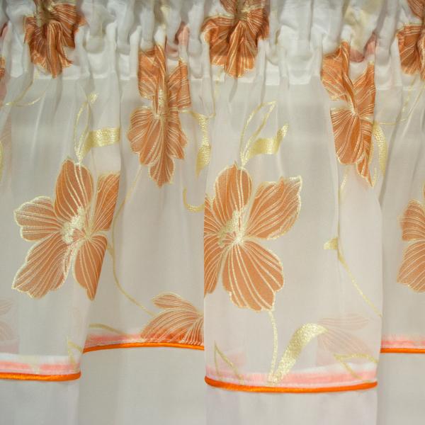 Perdea voal alb cu flori portocalii, 360x175 cm [1]