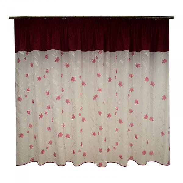 Perdea voal flori rosii, 280x155 cm 0