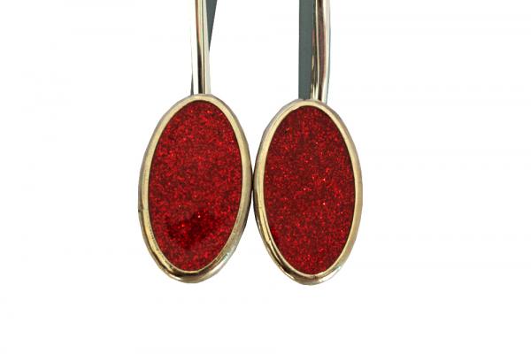 Set 2 magneti decorativi ovali cu sclipici si sufa metalica 13 cm 2