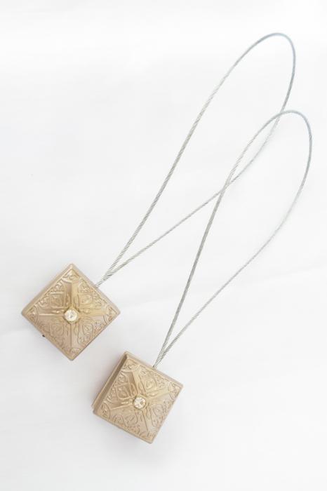 Set 2 magneti decorativi Velaria, patrati cu sufa metalica 25 cm 0