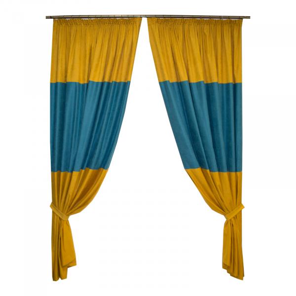 Set draperii galben-turcoaz, 2x175x245 cm 0