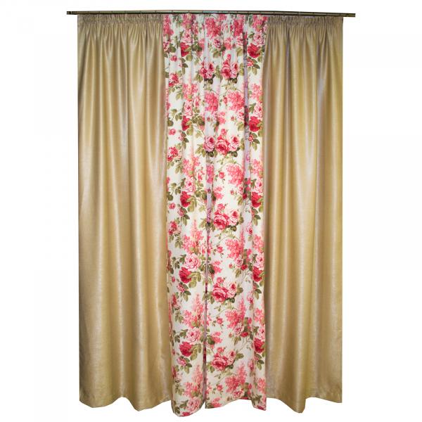 Set draperii bej cu trandafiri, 2x155x260 cm 1