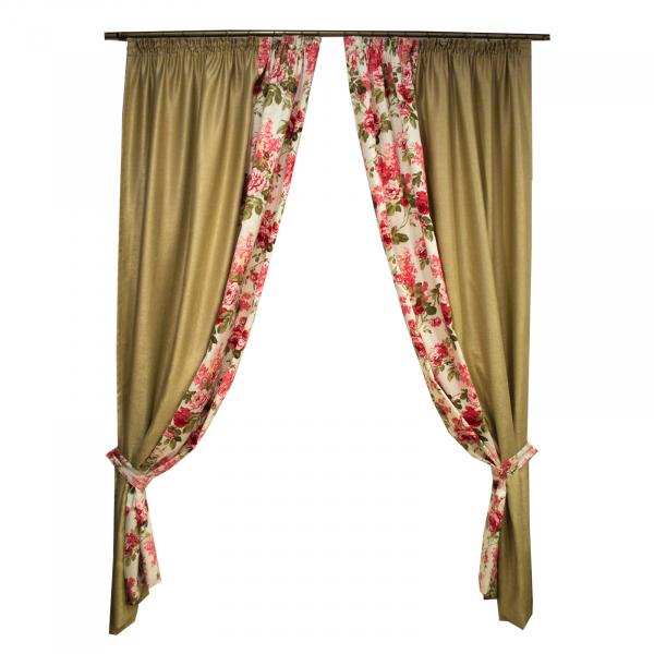 Set draperii bej cu trandafiri, 2x155x260 cm 0