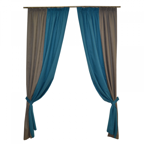 Set draperii Velaria turcoaz-gri, 2x130x260 cm 0