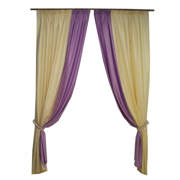 Set draperii soft unt-lila, 2x150x260 cm [0]