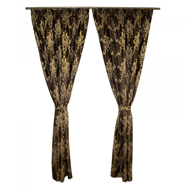 Set draperii tafta wenge cu model 2x140x225 cm 0