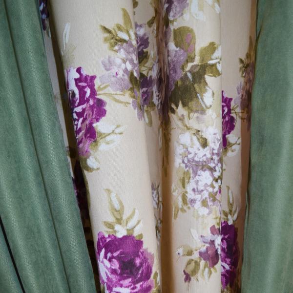 Set draperii Velaria floral mov cu verde, 2x175x245 cm 1
