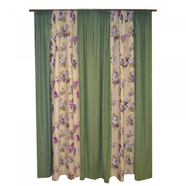 Set draperii Velaria floral mov cu verde, 2x175x245 cm 2