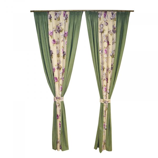 Set draperii Velaria floral mov cu verde, 2x175x245 cm 0