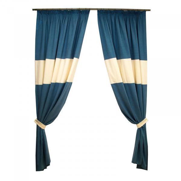 Set draperii Velaria turcoaz cu insertie cream 0