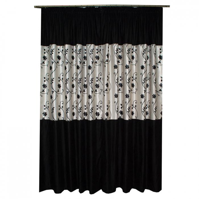 Set draperii Velaria negre cu flori, 2x150x240 cm [4]