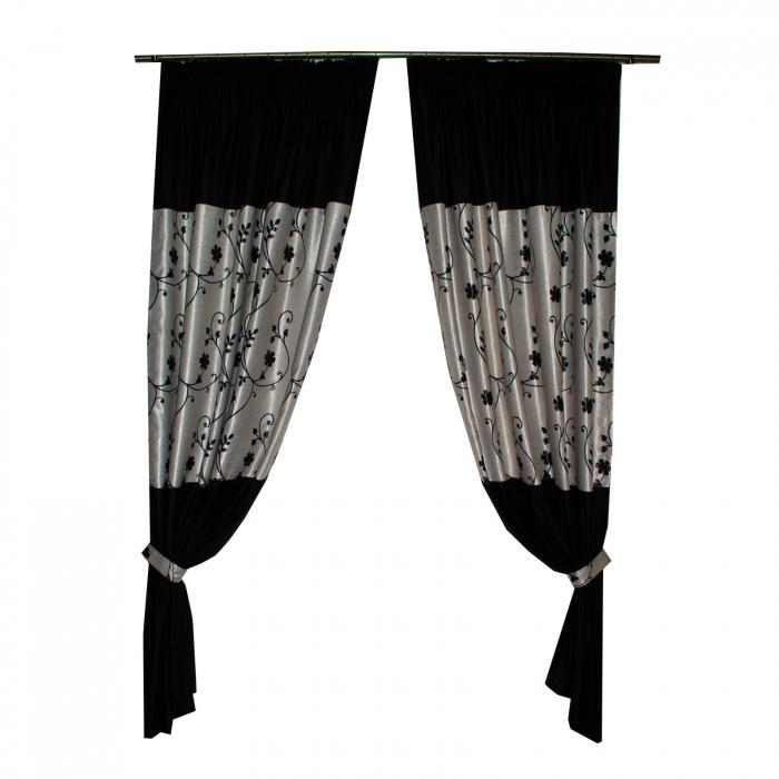 Set draperii Velaria negre cu flori, 2x150x240 cm [1]