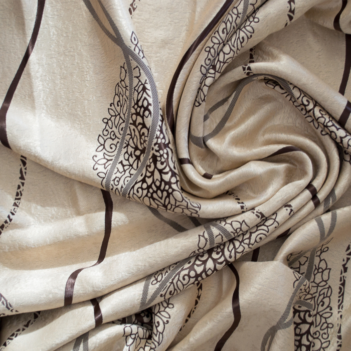 Set draperii Velaria bej cu model wenge, 2*115x245 cm [3]