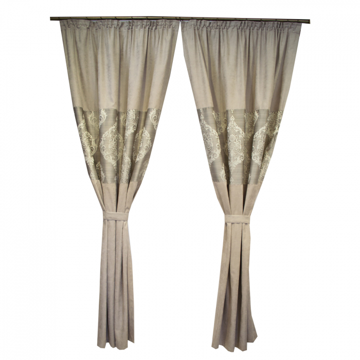 Set draperii Velaria silver cu model baroc, 2*120x225 cm 0