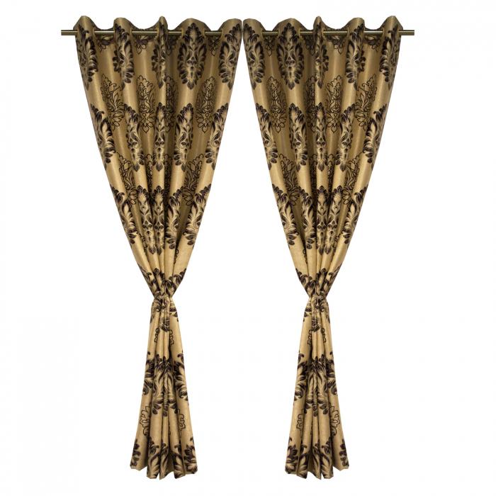 Set draperii Velaria blackout baroc wenge cu capse, 2*160x208 cm 2