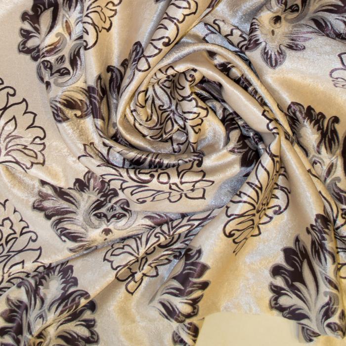 Set draperii Velaria blackout baroc wenge cu capse, 2*160x208 cm 3