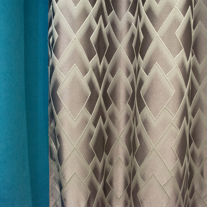 Set draperii Velaria romb gri cu turcoaz, 2x140x280 cm 2