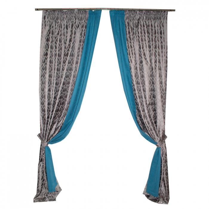 Set draperii Velaria romb gri cu turcoaz, 2x140x280 cm 0