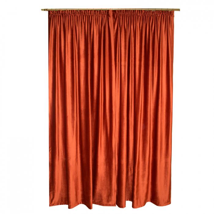 Set draperii Velaria catifea caramizie, 2x140x265 cm 1