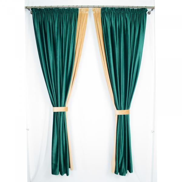 Set draperii Velaria catifea smarald, 2x185x225 cm 0