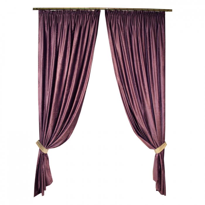 Set draperii Velaria catifea mov 3D, 2*140x245 cm [0]