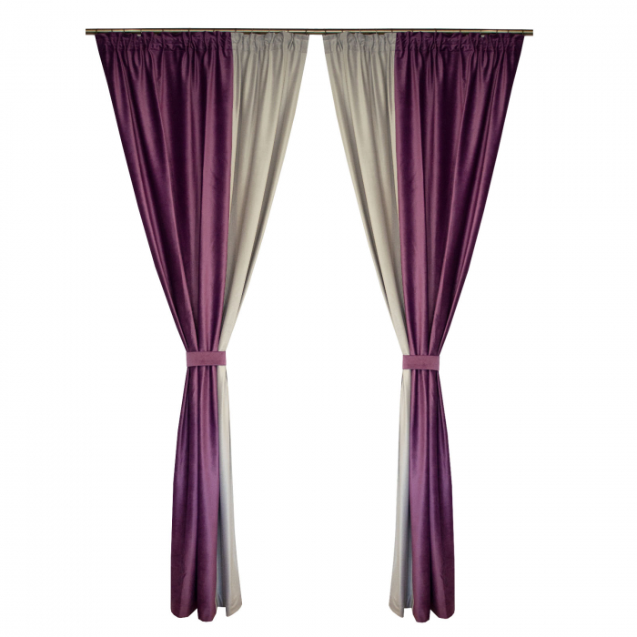 Set draperii Velaria catifea mov-gri, 2*130x260 cm [0]