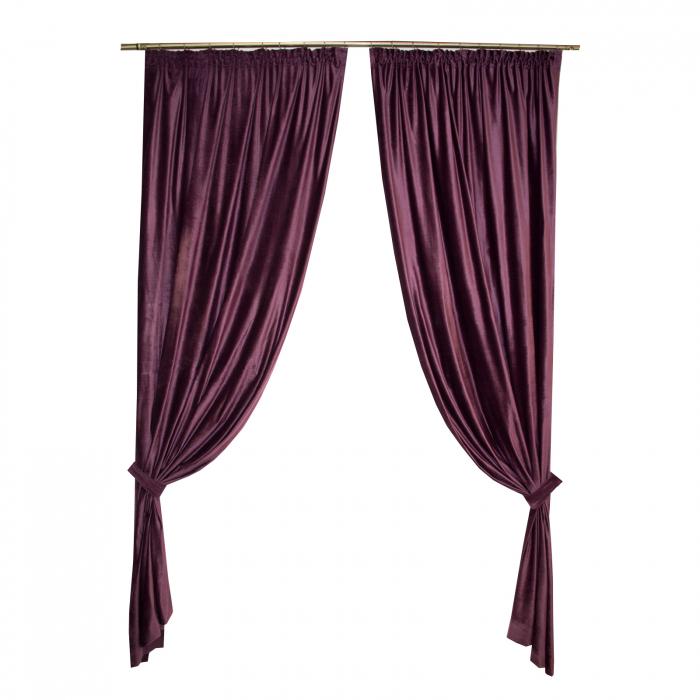 Set draperii Velaria catifea pruna 2x140x270 cm 0