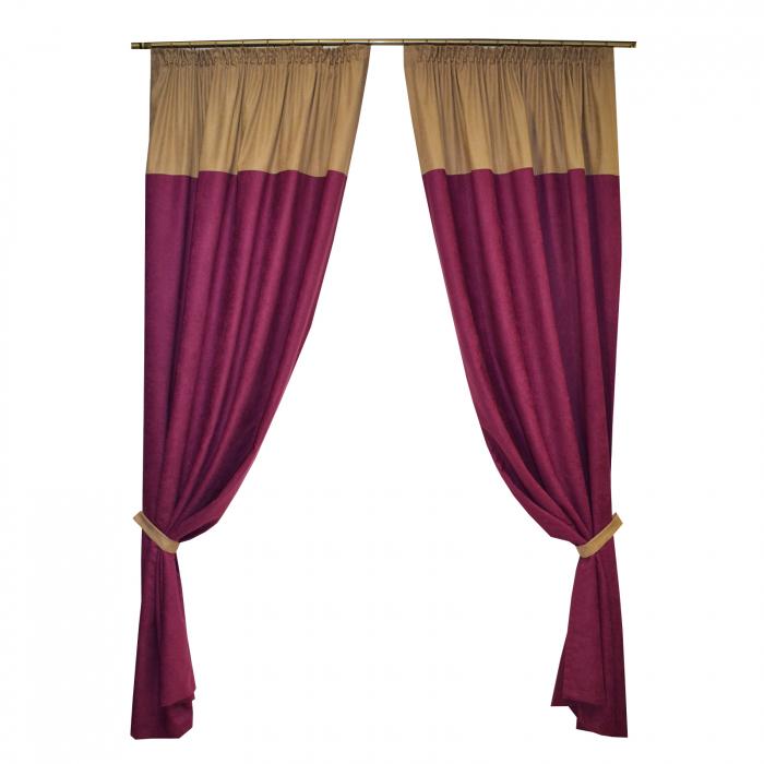 Set draperii Velaria suet pruna, 2x140x260 cm 0