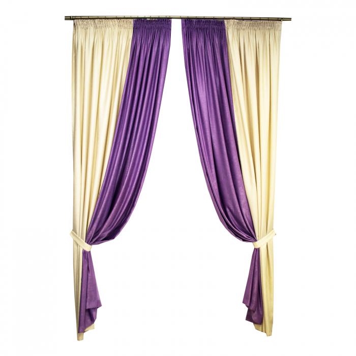 Set draperii Velaria crem cu mov, 2x235x260 cm 0