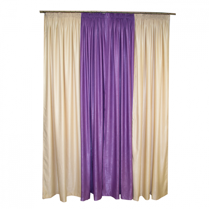 Set draperii Velaria crem cu mov, 2x235x260 cm 1