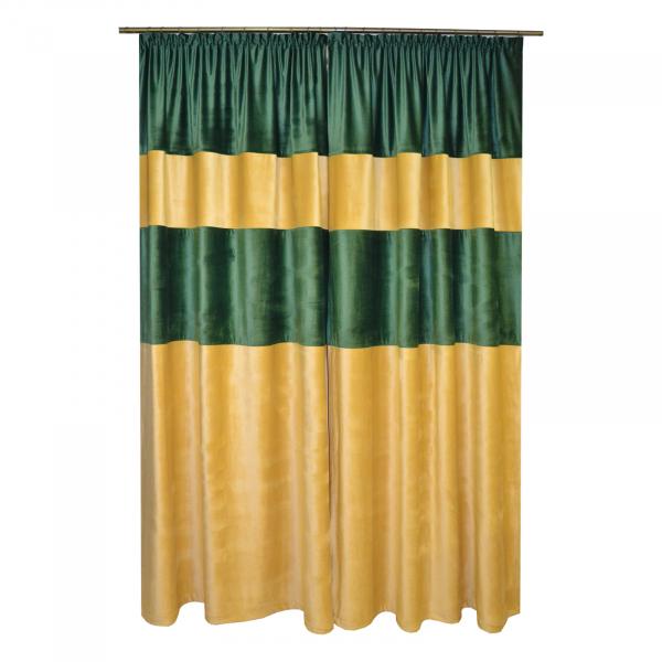 Set draperii Velaria bej-smarald, 2x140x260 cm 1