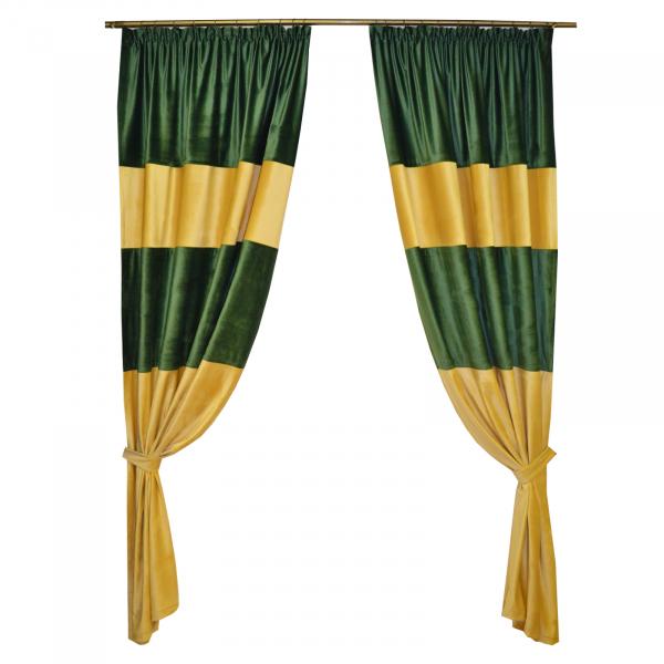 Set draperii Velaria bej-smarald, 2x140x260 cm 0