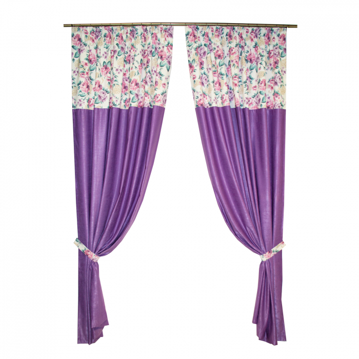 Set draperii Velaria floral mov, 2x155x255 cm 0