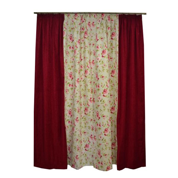 Set draperii Velaria flori rosii, 2x135x260 cm 1