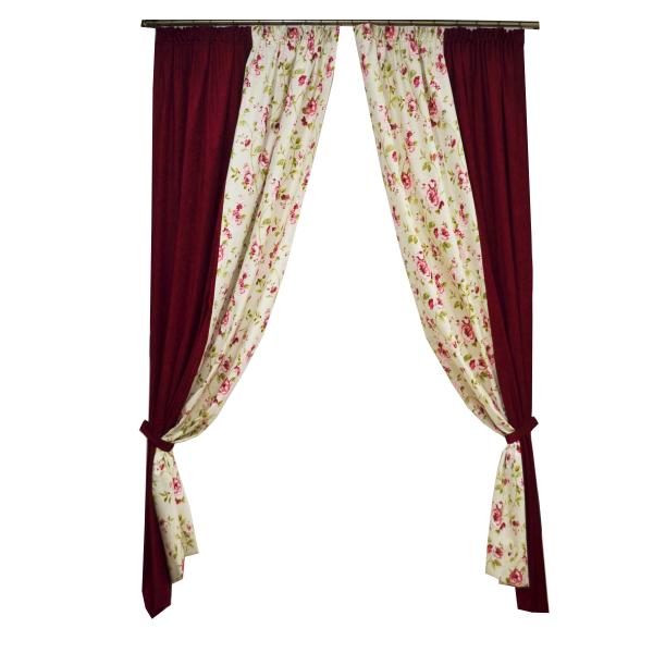 Set draperii Velaria flori rosii, 2x135x260 cm 0