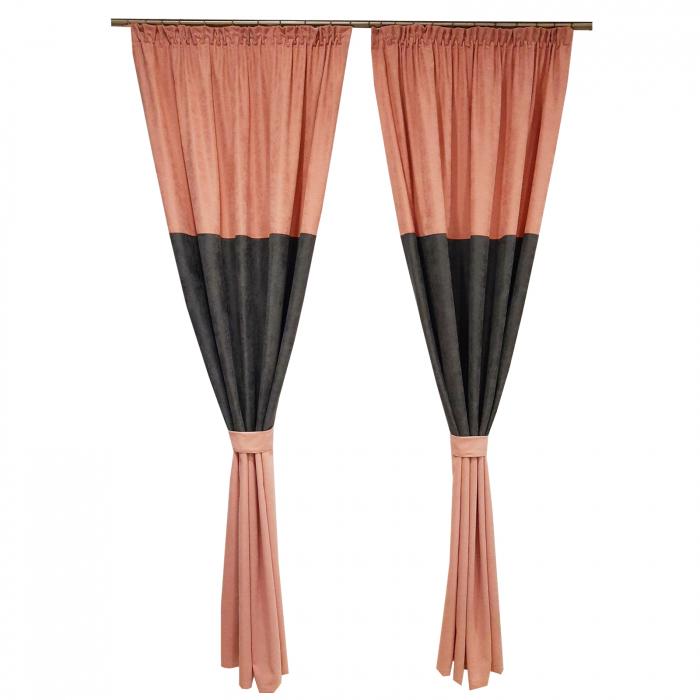 Set draperii Velaria roz-gri, 2x135x240 cm 0