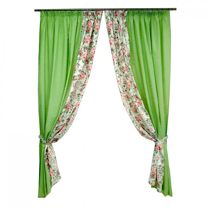 Set draperii Velaria floral verde 2x190x260 cm 0