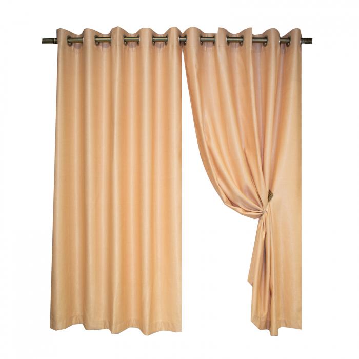 Set draperii Velaria soft auriu cu capse, 2*140x160 cm 0