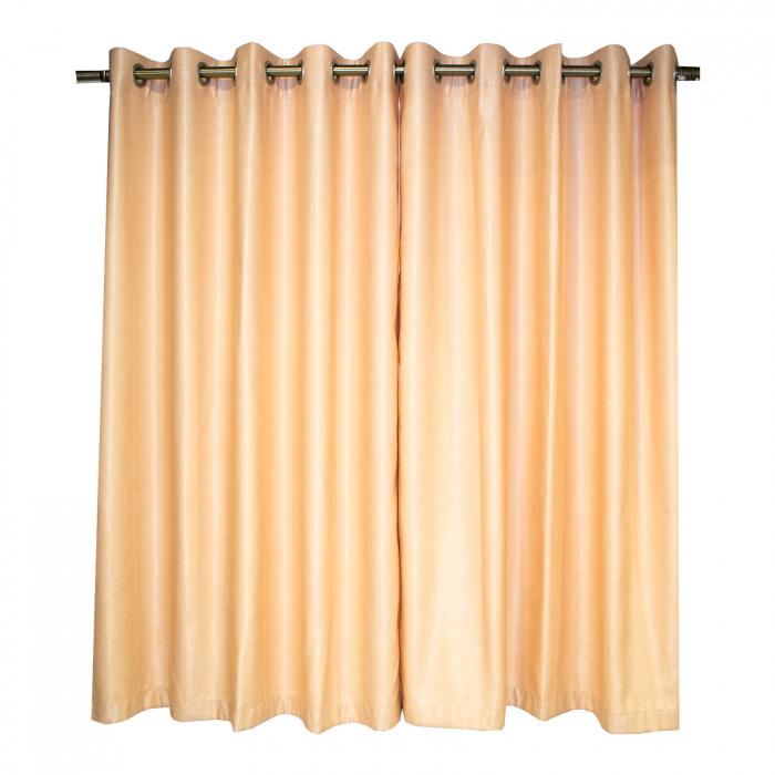 Set draperii Velaria soft auriu cu capse, 2*140x160 cm 1